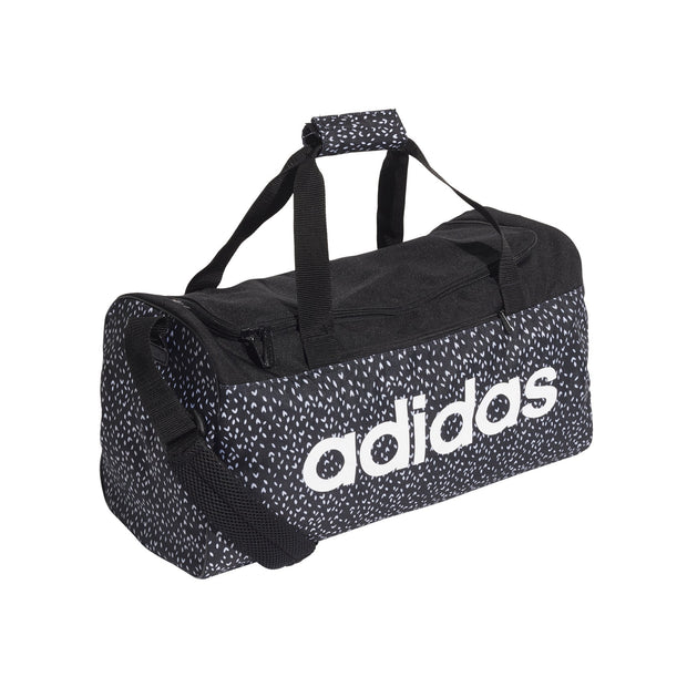 ADIDAS LINEAR BLACK WHITE PATTERN DUFFEL BAG (SMALL)