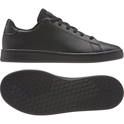 ADIDAS JUNIOR ADVANTAGE TRIPLE BLACK LEATHER SHOES