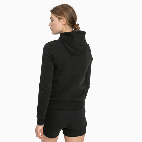 PUMA WOMEN'S ESSENTIALS FLEECE HOODED FULL ZIP BLACK JACKET