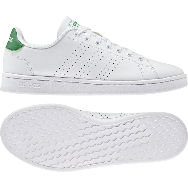 ADIDAS MEN'S ADVANTAGE WHITE GREEN SHOES