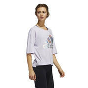ADIDAS WOMEN'S BADGE OF SPORT PURPLE TEE