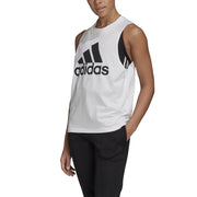 ADIDAS WOMEN'S BADGE OF SPORT COTTON WHITE SINGLET