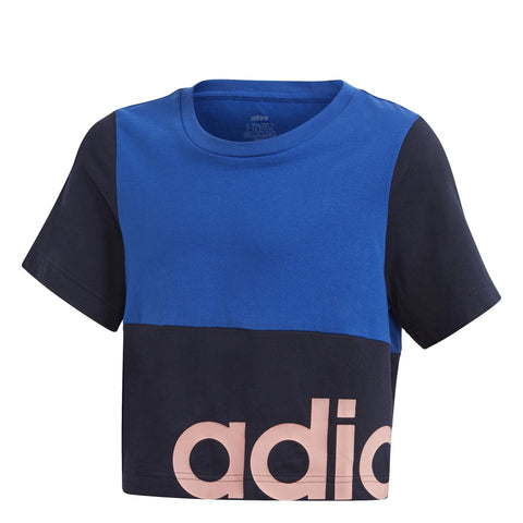 ADIDAS JUNIOR LINEAR COLORBLOCK BLUE CROPPED TEE