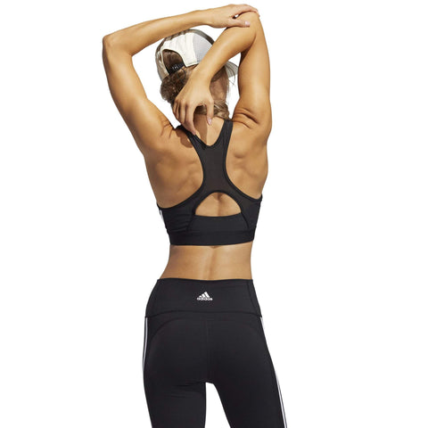 ADIDAS WOMEN'S BELIEVE THIS 3-STRIPES MEDIUM SUPPORT RIB BLACK SPORTS BRA