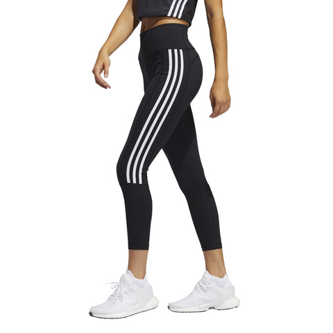 ADIDAS WOMEN'S BELIEVE THIS 2.0 3-STRIPES RIBBED 7/8 BLACK TIGHTS