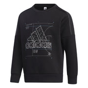 ADIDAS JUNIOR TRAINING ESSENTIALS SPACE CREW BLACK SWEATSHIRT