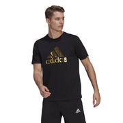 ADIDAS MEN'S FOIL LOGO BLACK/GOLD GRAPHIC TEE