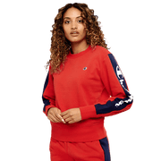 CHAMPION WOMEN'S PANEL RED CREW SWEATSHIRT