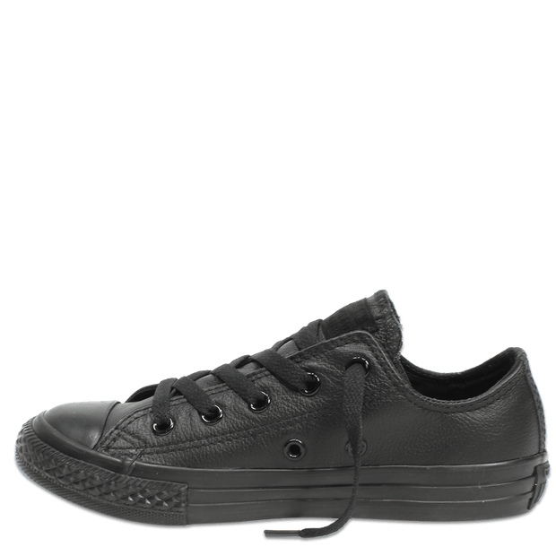 CONVERSE CHUCK TAYLOR ALL STAR LEATHER JUNIOR LOW TOP BLACK MONOCHROME - INSPORT