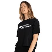 RUSSELL ATHLETIC WOMEN'S ARCH LOGO BLACK CROP TEE