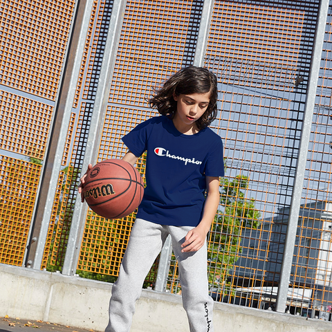 CHAMPION JUNIOR SCRIPT NAVY SHORT SLEEVE TEE