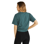 RUSSELL ATHLETIC WOMEN'S ARCH LOGO GREEN CROP TEE