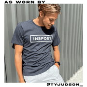 INSPORT MEN'S BOX LOGO PRINTED CHARCOAL GREY HEATHER TEE