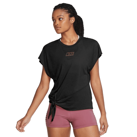 NIKE WOMEN'S DRI-FIT SHORT-SLEEVE BLACK TRAINING TOP