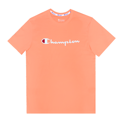 CHAMPION MEN'S SCRIPT SHORT SLEEVE CORAL PEACH TEE