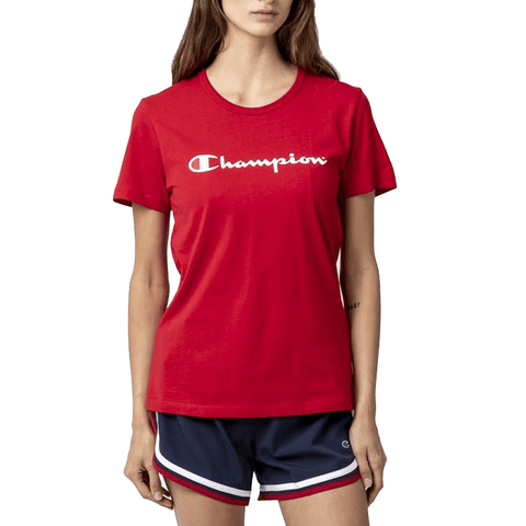 CHAMPION WOMEN'S SCRIPT SHORT SLEEVE RED TEE