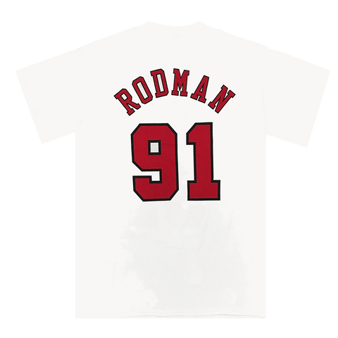 MITCHELL AND NESS MEN'S DENNIS RODMAN CHICAGO BULLS WHITE TEE