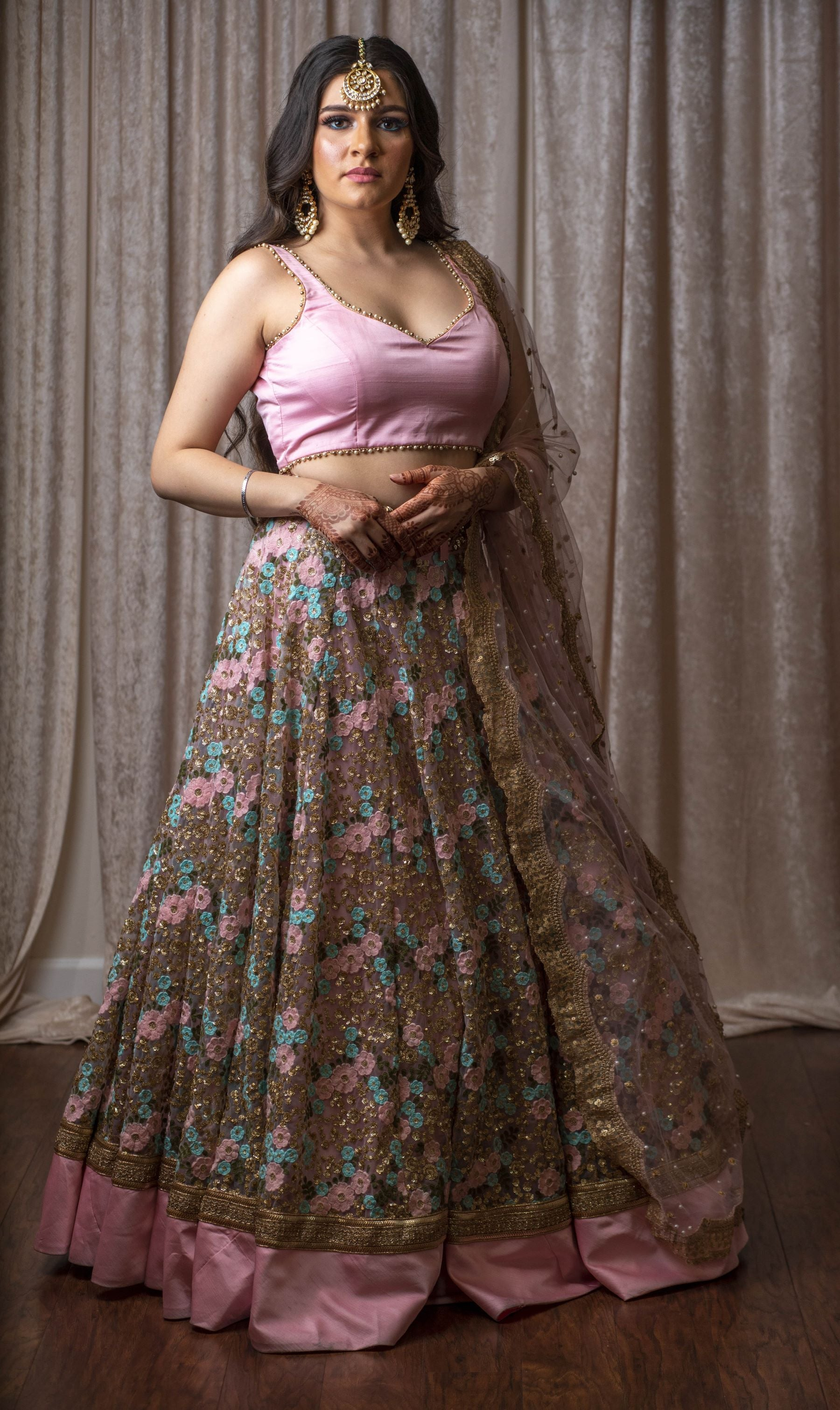 Baby Pink Net Lehenga with Sweetheart Neckline Blouse