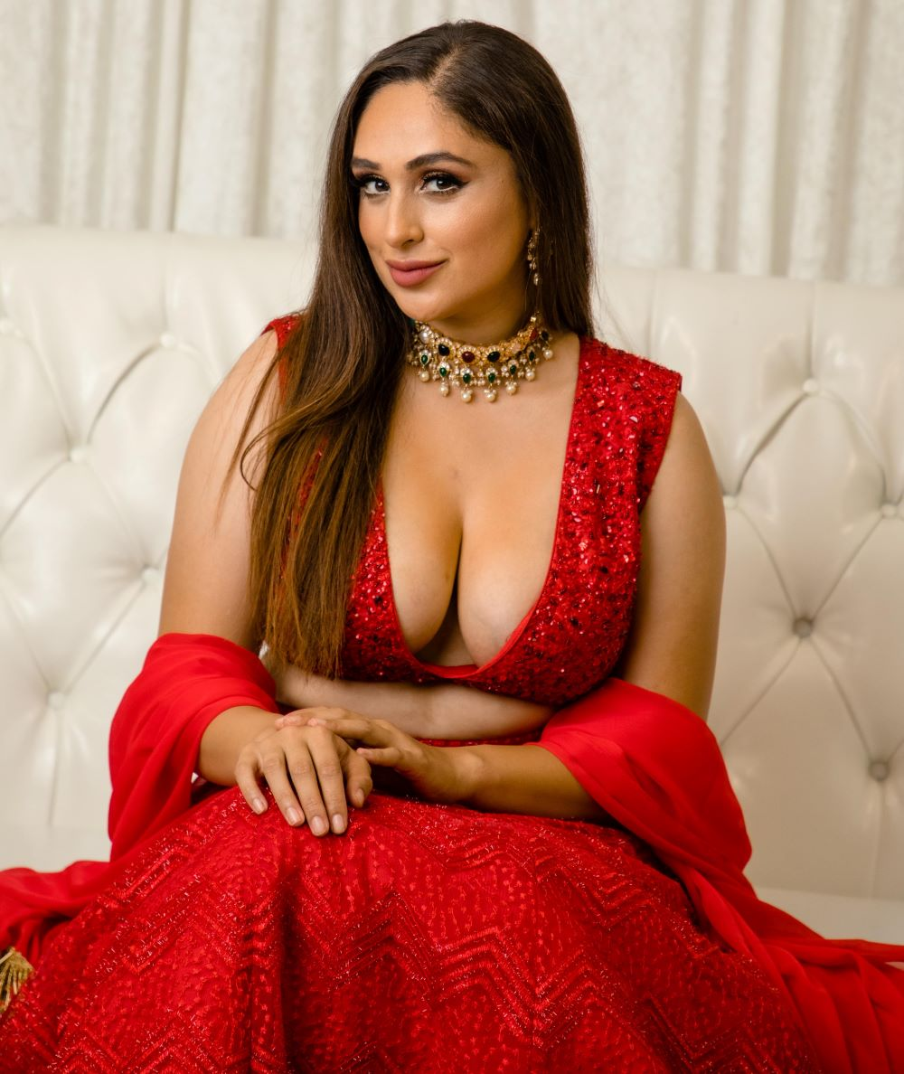 plunging neckline blouse red monochrome lengha