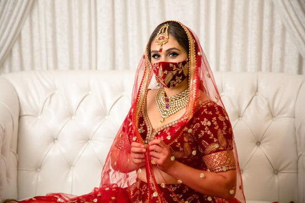 red bridal face mask