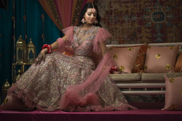 frilled sleeves blouse with lehenga - pink
