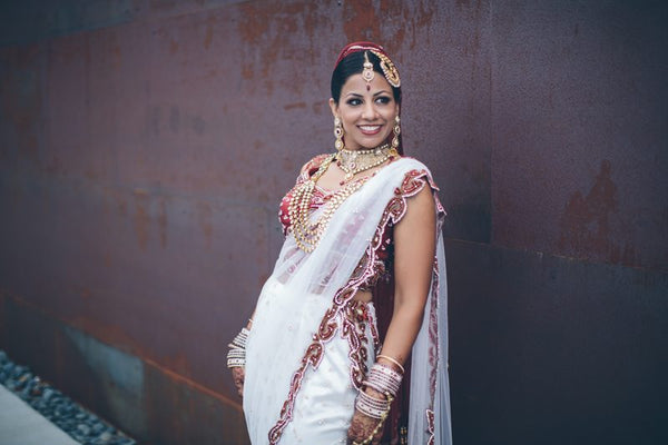White bridal saree