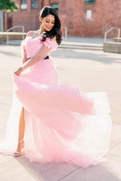 ruffle off shoulder pink tulle gown