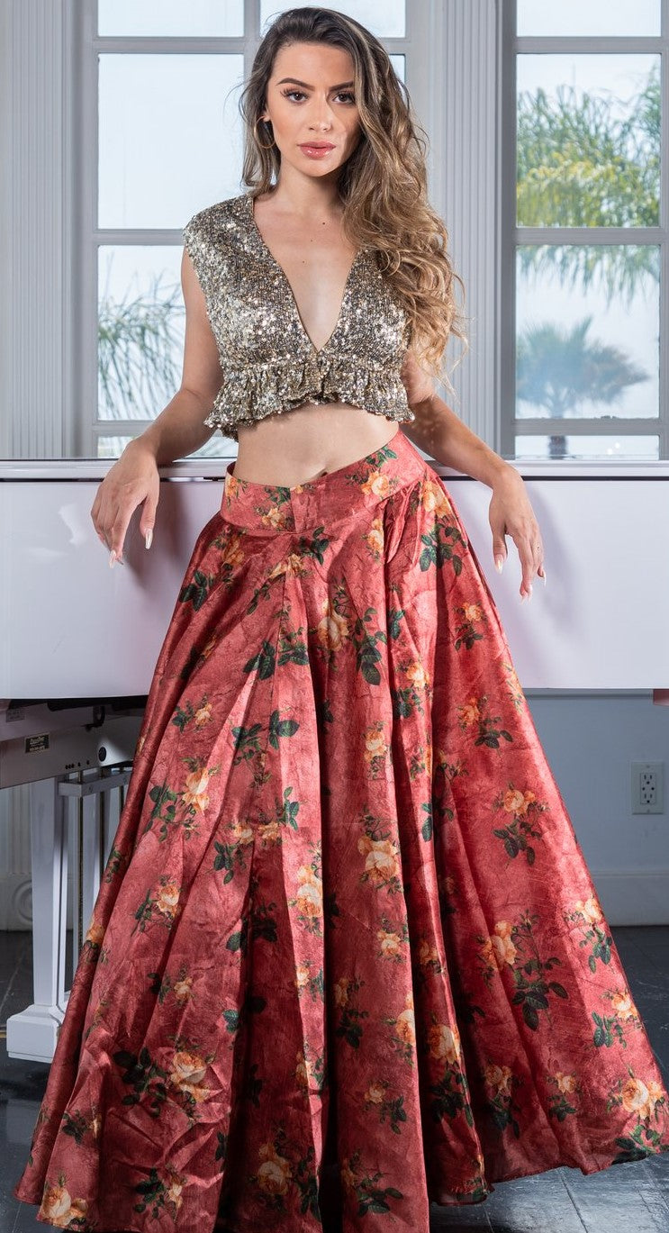 plunging neckline cocktail party shimmer blouse with floral lehenga