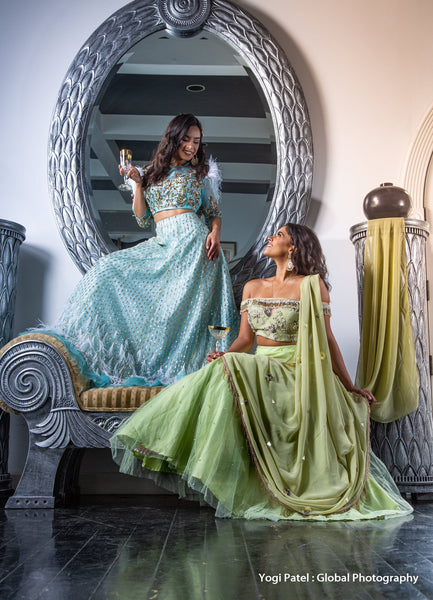 Lesbian wedding attire ideas - pastel colored lehengas