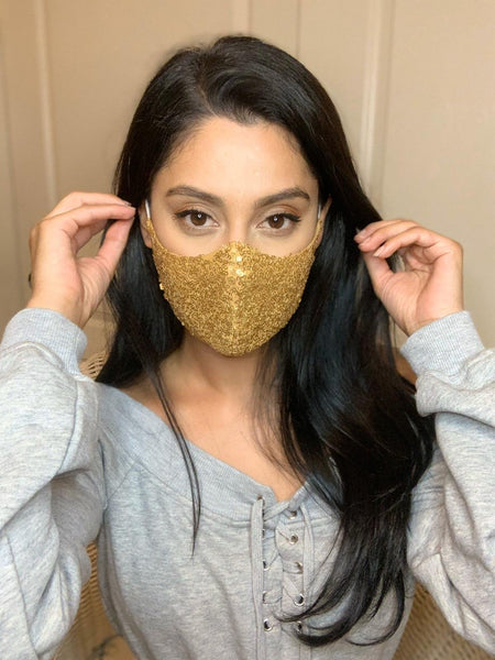 Gold sequins festive masks