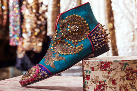 Blue embroidered bridal boots