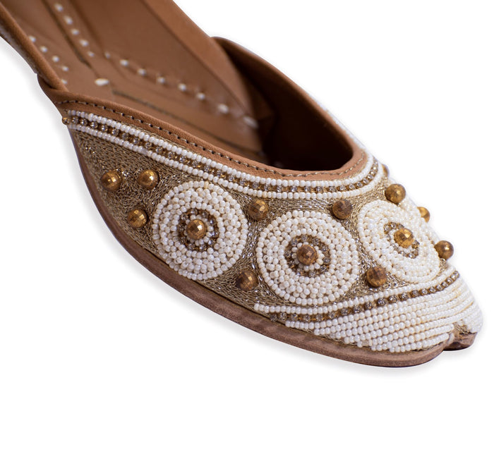 Golden Punjabi Jutti with pearl and bead embroidery
