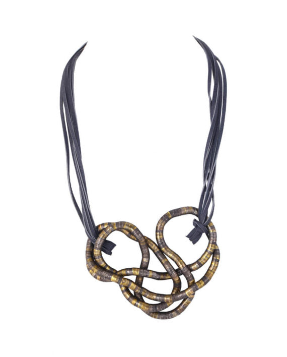 Suede Spiral Metal  Necklace