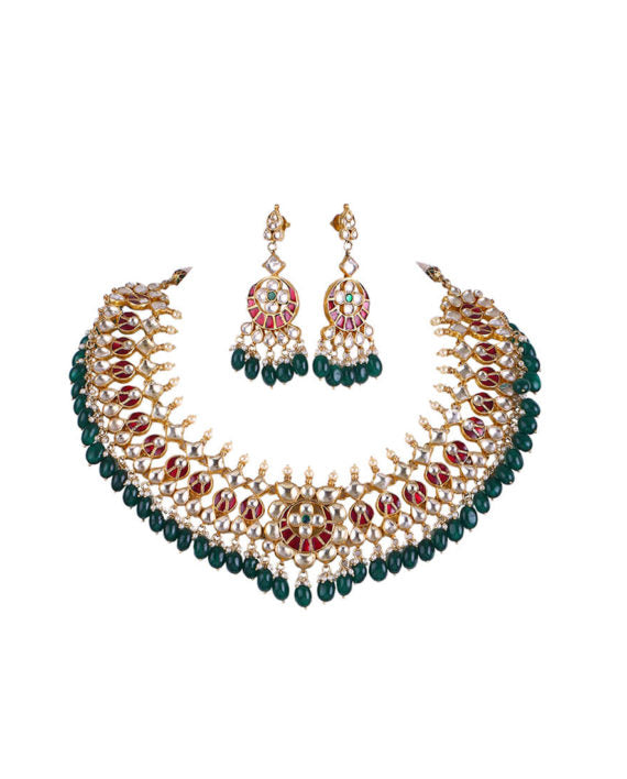 Ahmedabadi Kundan Bridal Set with Multi-Crystal Pearl Glass Drops - bAnuDesigns
