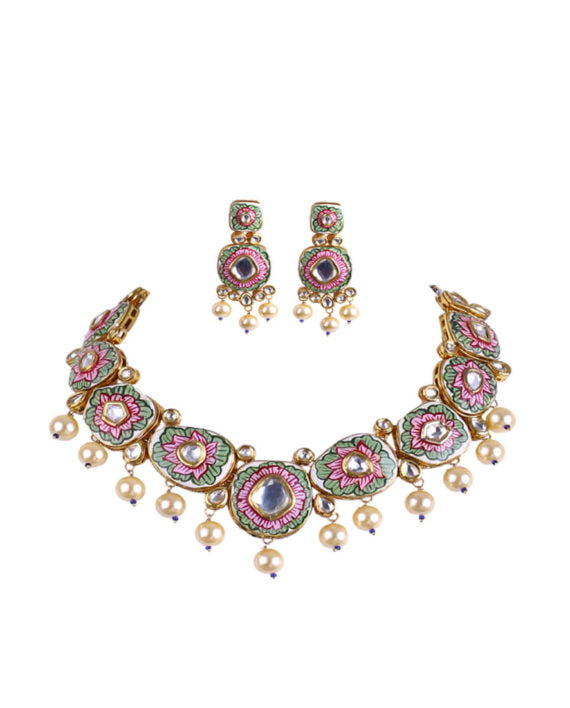 Pink & Green Enameled Polki Necklace With Pearl Drop Earrings