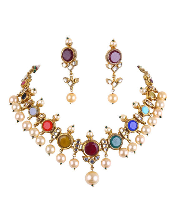 Multi-colored Navratan Necklace Set With Pearl Drop Earrings - bAnuDesigns