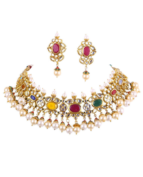 Multi-colored Navratan Necklace With Pearl Drop Earrings - bAnuDesigns