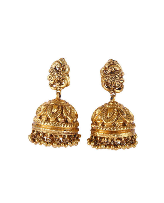 Silver Gold Plated Temple Earrings With Pearl Cluster Drops - bAnuDesigns