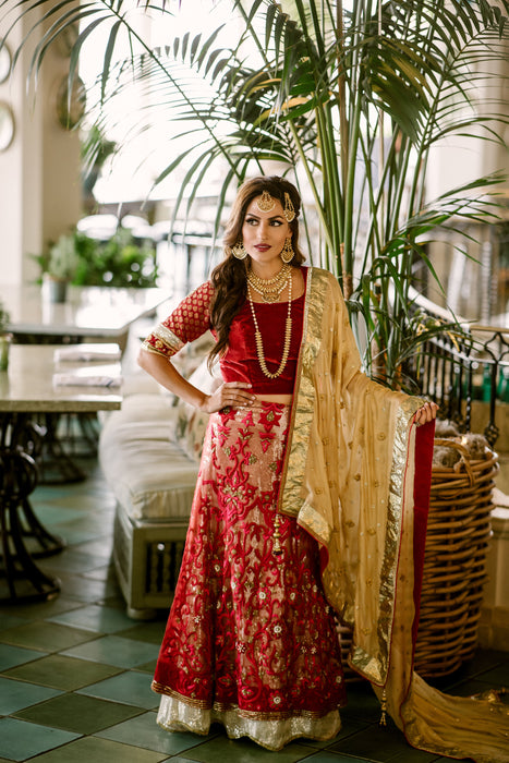 Red & Gold Lehenga - Kiara - bAnuDesigns