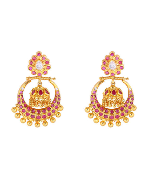 Silver Gold Plated Traditional Pink Crescent Earrings - bAnuDesigns
