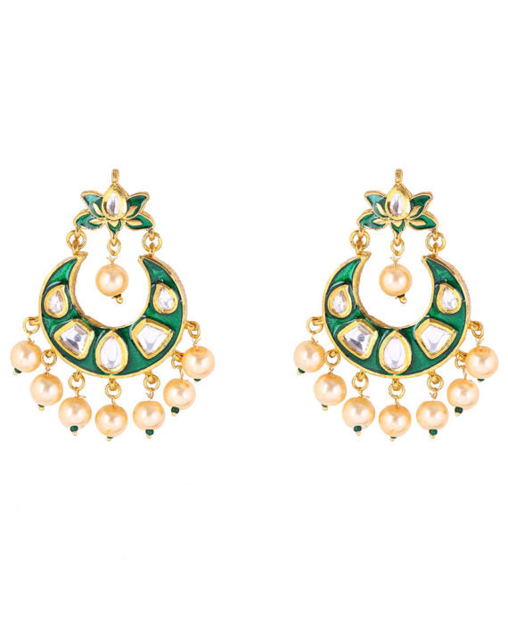 Silver Gold Plated Meena Earrings With Polki Work & Pearl Drops - bAnuDesigns