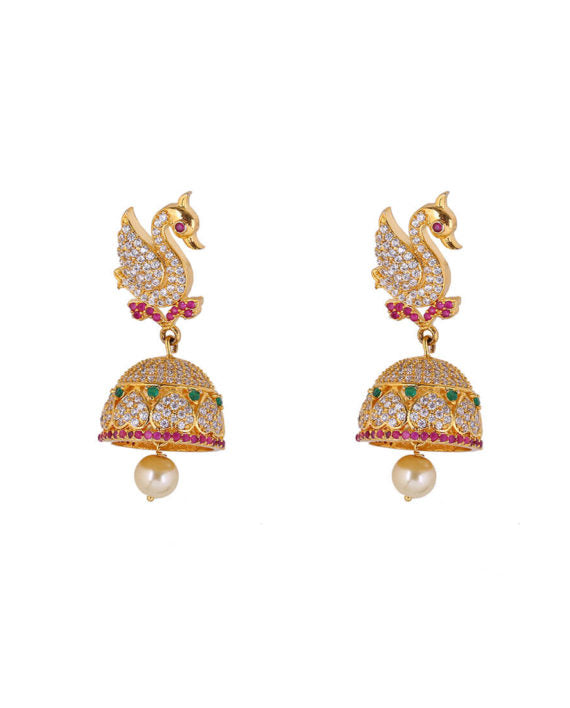 Silver Gold Plated Multi-colored Swan Ball Droplet Earrings - bAnuDesigns
