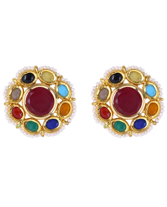 Multi-colored Navratan Round Stud Earrings - bAnuDesigns