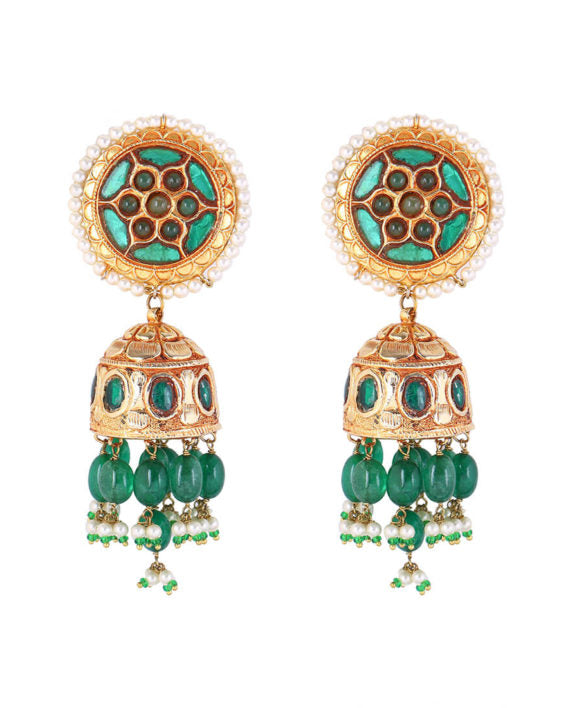 Silver Gold Plated Green Emerald Antique Drop Earrings - bAnuDesigns