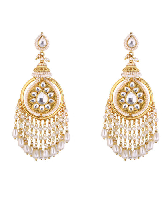 Silver Gold Plated Polki Earrings With Multi-strings of White Pearls - bAnuDesigns