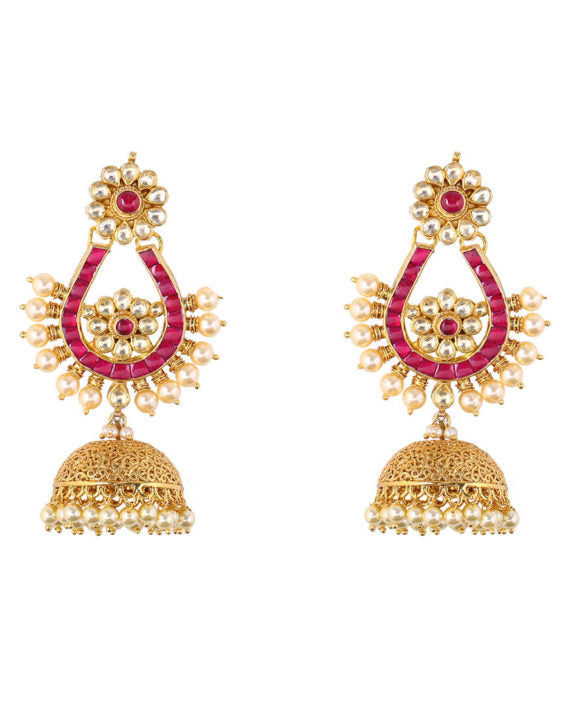 Silver Gold Plated Floral Kundan Jhumkis With Pearl Drops - bAnuDesigns