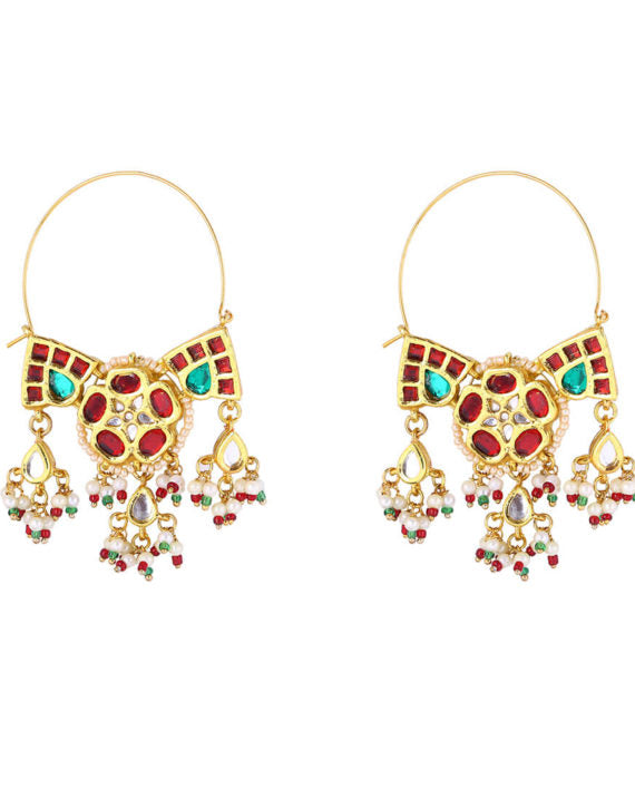Traditional Hoop Earrings With Polki Work