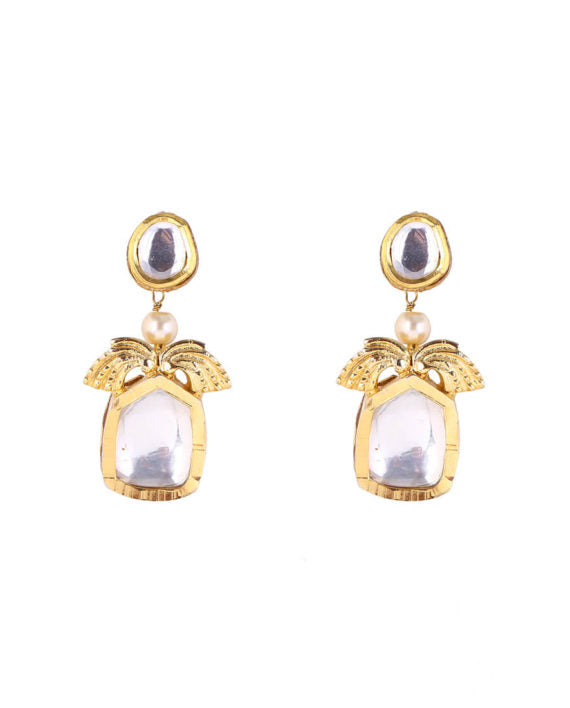 Silver Gold Plated Polki Drop Earrings - bAnuDesigns