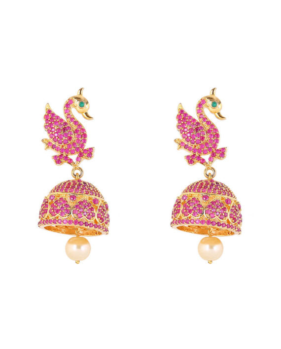 Silver Gold Plated Pink Swan Ball Droplet Earrings - bAnuDesigns