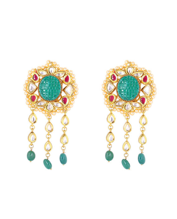 Silver Gold Plated Polki Earrings With Multi-strings - bAnuDesigns